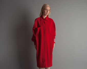 ELLEN TRACY dark red wool crepe shirt dress / oversized shirt dress / minimalist dress / s / 6 / 1086d