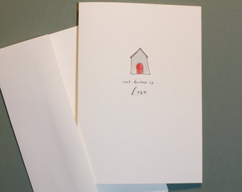 Home is love greeting card brick house anniversary card new