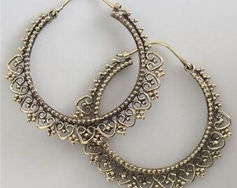 Brass Earrings - Brass Hoops - Gypsy Earrings - Tribal Earrings - Ethnic Earrings - Indian Earrings - Tribal Hoops - Indian Hoops (EB121)
