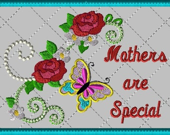 """Machine Embroidery Design-ITH-Mug Rug-""""Mothers are Special"""" with Butterfly and Roses includes 2 sizes, 5x7 and 6x10 hoops"""