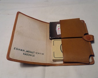 Vintage Brown Leather Case for Playing Cards