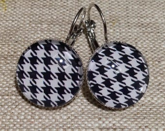 Sleepers cabochons - Plaid - black and white - gingham - houndstooth