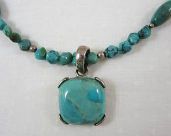 Vintage Sterling Silver Square Turquoise Cabochon Necklace Turquoise Bead Accent