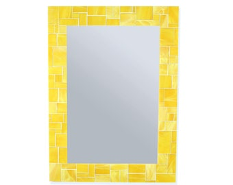 Yellow Mirror – Stained Glass Tile Wall Mirror for Your Yellow Décor or Yellow Bathroom