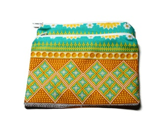 Reusable Snack Bags Set of 2 Zipper Yellow Turquoise Indian Design Cotton