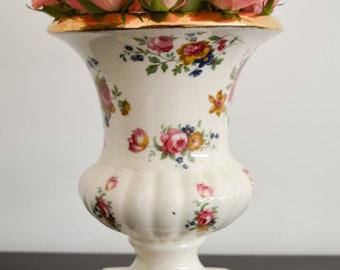 Vintage Flower Vase, Plant Holder K.L.M. Staffordshire England, Shabby Chic Pink White Roses, Flower Pot Decorative Ornament Pottery Antique