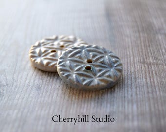 Pair of Ceramic Buttons, Textured Ceramic Buttons, Sew on Buttons, Buttons, Stoneware Buttons, Unique Buttons, Haberdashery
