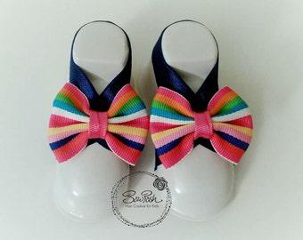 Rainbow baby sandals, elastic baby sandals, rainbow barefoot baby sandals, baby barefoot sandals, bow baby sandals, preppy baby sandals