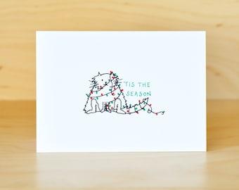 Tis the Season - Christmas card - cute greeting card - blank inside - hand drawn illustration - Christmas cat