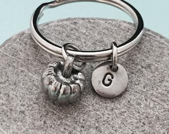 Pumpkin keychain, pumpkin charm, food keychain, personalized keychain, initial keychain, customized keychain, monogram