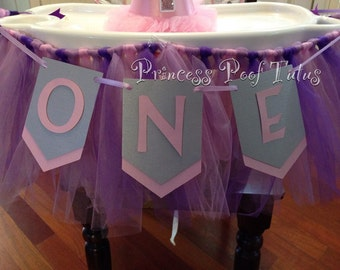 O N E One First Birthday Banner for Highchair - Any Colors Available
