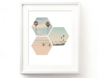 digital download, California photography, California wall art, printable LA photo, beach print, palm tree art, surfer print, hexagon, dorm