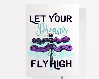 Handmade Encouragement Card, Dragonfly Card, Best Friend Card, Birthday Card, New Job Card, Congratulations Card, Good Vibes Only Card 1131A