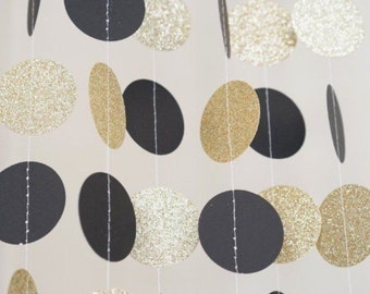 Black  and Gold Circle Dot Garland/ balloon tails