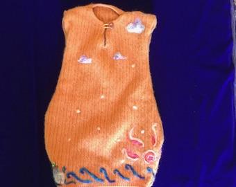 Orange Sunrise Cashmere Baby Snugglesuit