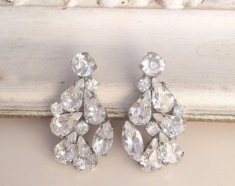 Vintage Style crystal Earrings, Bridal stud sparkly earrings, statement earrings, Wedding swarovski cluster earrings, bridesmaid earrings