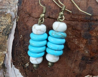 Turquoise earrings/tribal earrings/ boho earrings/boho jewelry/stone beads/turquoise beads/meditation jewelry/hippie jewelry/yoga jewelry
