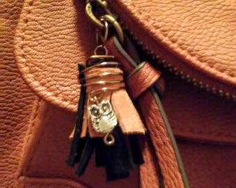 Owl Brown and Black Leather Purse Charm