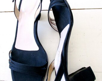 Black Silk Dressy Sandals - Pumps - Strappy - Shoes - Vintage - Leather - Italian - Size 37 Euro - 7 B US - Lady Continental Dead Stock