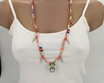 Tribal necklace, boho necklace, bohemian jewelry, women necklace, hippie necklace, large necklace
