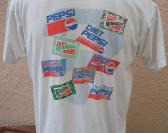 Size XL (50) ** Ultra Rare and Collectible 1980s Pepsi Products Advertising Shirt (Double Sided) (Screen Stars)