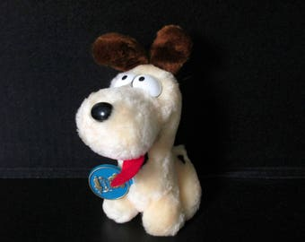 """Vintage Odie Plush, Garfield and Odie, Garfield's Odie Stuffed Animal 1983 Dakin with tag 6"""", Odie the Dog, Garfield Lover Collectible"""