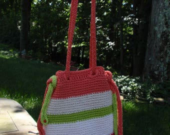 Crochet Cotton Tote Lined with Adjustable Straps Cross Body Hobo in Coral, Bright Green and White Stripe with Jute Base