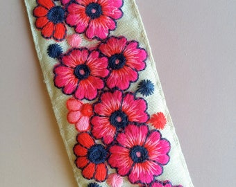 Beige Fabric Trim With Floral Embroidery, Fuchsia Pink, Red And Blue Trim, Approx. 45mm wide - 200317L132
