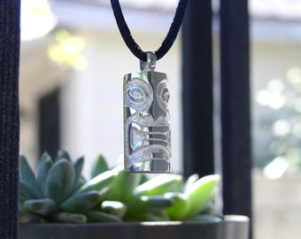 Sterling Tiki Artist Made One Of A Kind Carved Lucky Silver Tiki Pendant With Black Adjustable Cord Great For Collector