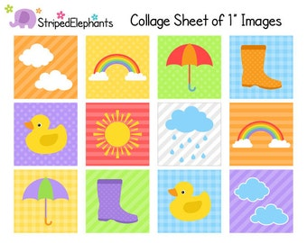 Weather Digital Collage Sheets - 1 Inch Square Images - Instant Download - Commercial Use