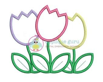 Tulip Trio Easter/Spring Applique Machine Embroidery Design