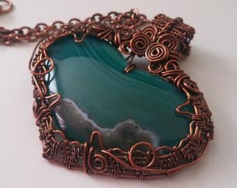 Beautiful Unique Antiqued Copper Wire Wrapped Agate pendant Necklace OOAK