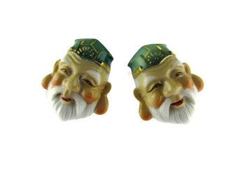 Toshikane JUROJIN Earrings / 7 Fortune gods Arita Porcelain /Seven Lucky gods 七福神 Shichi Fukujin / Seven Immortal gods / Feng Shui Longevity