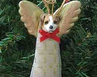 Handmade JACK RUSSELL TERRIER Small Lace Angel Christmas Tree Ornament or Pet Memorial...choose style