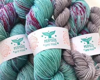 Mermaids Are Real Blue Faced Leicester Sock and Mini Skein Set 120g