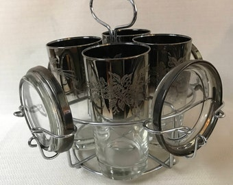 Vitreon Queens Lustreware Ombre Fade 4 Highball Glasses With Coasters and Caddy Circa 1955