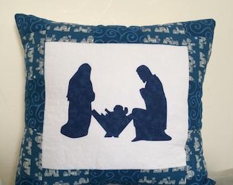 Nativity applique pillow, Quilted Nativity Pillow, Christmas pillow