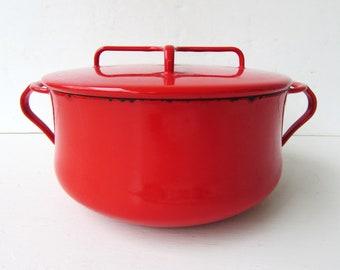 Vintage Red Dansk Enamel Pot- Enamelware - Mid Century Modern - Kobenstyle - 1970 Jan Quistgaard Dansk - Made in France -