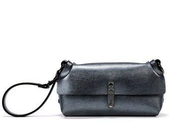 Pewter Wristlet | Dark Silver Wrist Handbag - Clutch | Vegan | Made in USA