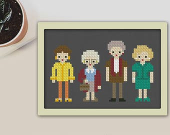 Cross Stitch Pattern Golden Girls Instant Download PDF Counted Chart