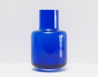 VEB HARZKRISTALL Design by Marita Voight, Blue Glass Vase Midcentury, East Germany 1970s
