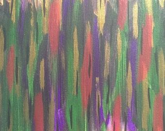 Violet, vert, rouge, or, noir acrylique peinture abstraite sur toile «série 7 XLVIII «Art moderne, Art contemporain, décoration de la maison