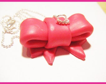 bow Fimo polymer clay necklace