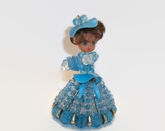 Vintage Blue Bead and Safety Pin Girl - Knick Knack