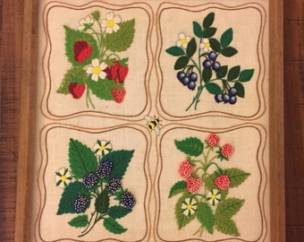 Needlepoint Strawberry Wall Hanging / Blueberry / Raspberry / Blackberry / 1970's Wall Art