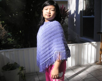 Knitted Poncho, Junior Girl - Lavender Blue