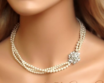3-Strand Pearl Bridal Necklace with Offset Rhinestone Crystal Flower - TAMARA