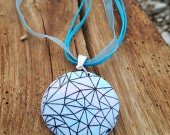Silkscreen necklace pink/blue