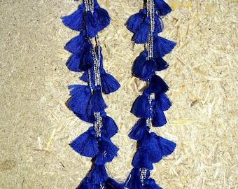 "Navy Blue Multi Tassel Boho  Necklace in Gold & Silver metal beads/Tassel Necklace/ 36"" long Necklace /Blue tassel Necklace"
