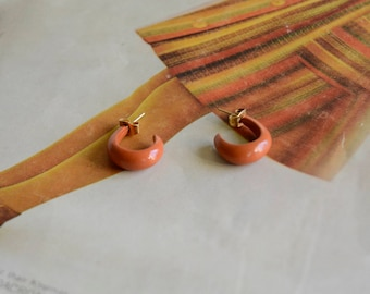 Vintage 1970s Orange Earrings. Orange Metal Hoops.